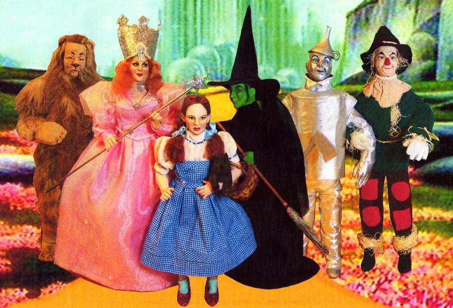 Oz dolls Judy Garland doll Glinda the Good Witch Scarecrow Tin Man Cowardly Lion Toto