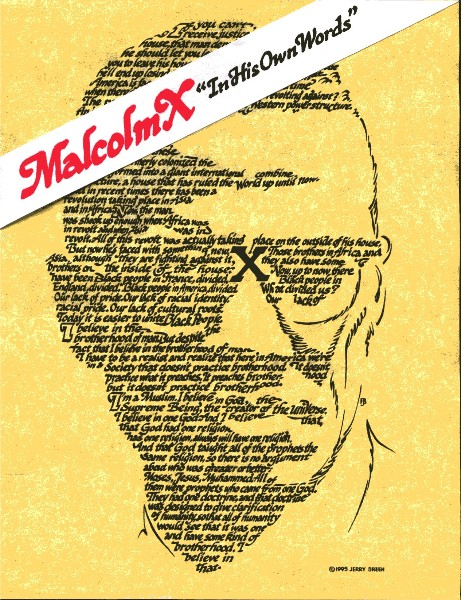 Malcolm X calligraphy portrait