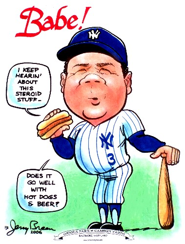 Babe Ruth cartoon Babe Ruth caricature
