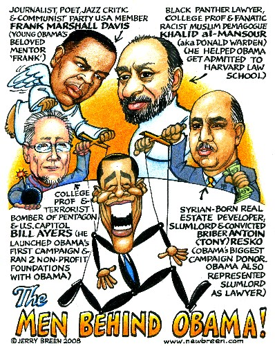 Obama cartoon Obama caricature Bill Ayers cartoon