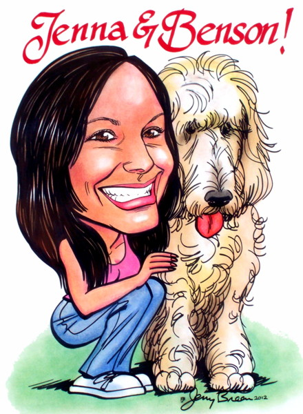 gift caricature from photo dog caricature pet caricature from photo